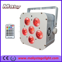 DJ Lighting 6*18w RGBWA UV wireless DMX 512 battery powered led party light factory experience high power auto uplight