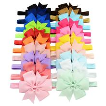 free shipping 20 colors 4.3 inch bow newborn ribbon bow head band <strong>hair</strong> band <strong>accessories</strong> baby girl