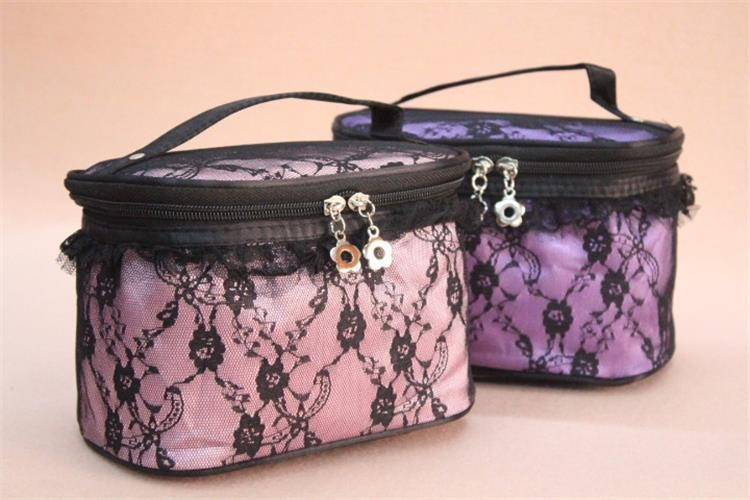 BSCI audited china manufacture free sample cheap lace cosmetic rolling case with mirror