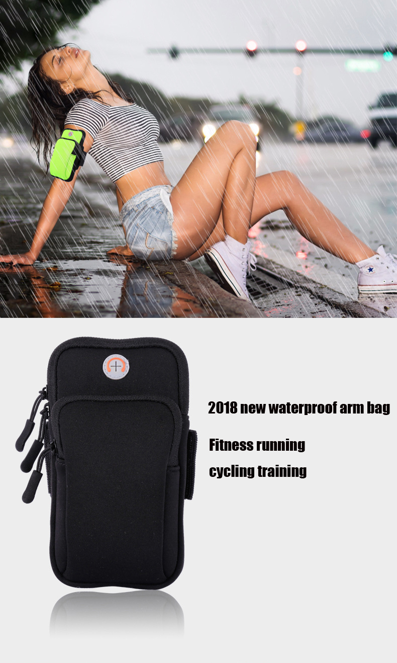 Man running mobile arm bag outdoor marathon sports Women arm with waterproof arm bag night running bag