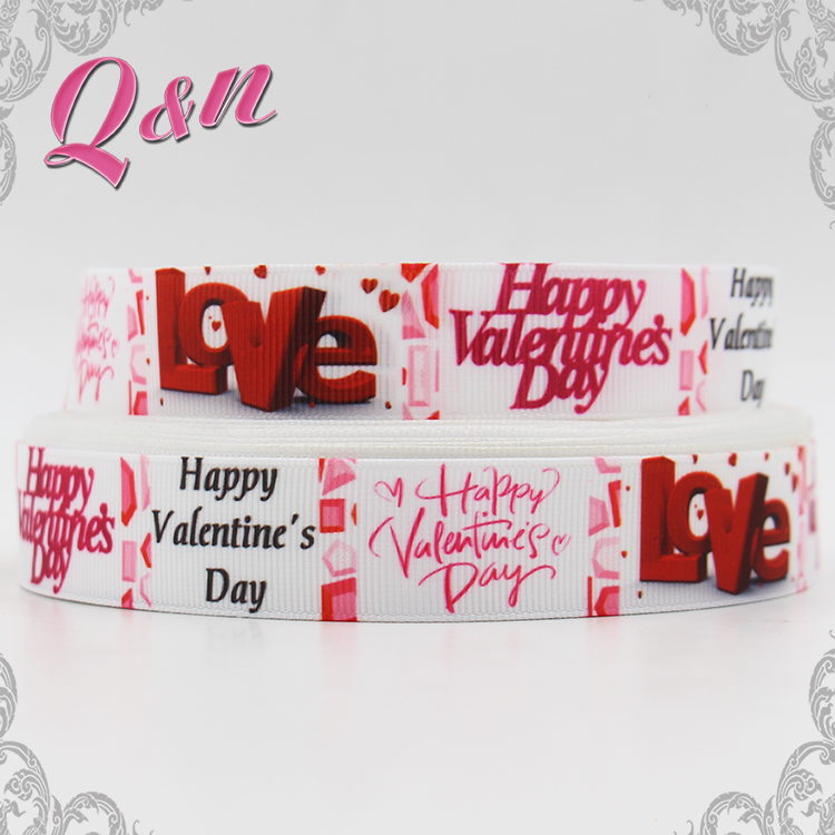 Wholesale valentines Printed Grosgrain make ribbon rosette