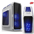 Factory supply Super nice newest design ATX computer gaming case with colorful LED lights