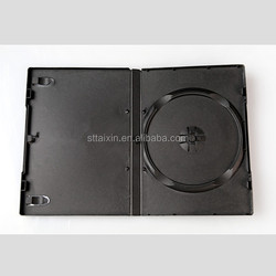 Shantou factory 14mm single black dvd case with PP sleeve