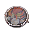Promotion Gifts Handheld Mirrors Personalized Round Photo Compact Mirror Metal Cosmetic Mirror with Button