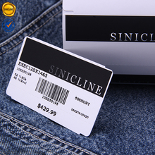 Sinicline Cheap Custom Waist Card Clothes Barcode Labels with Digital printing