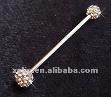 Body jewelry unique industrial piercing barbell with jeweled balls