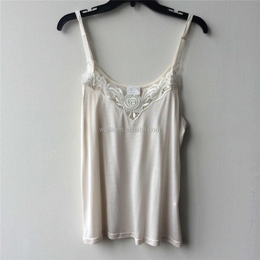 Women's Front Lace decorated Natural Fiber Silk Jersey Knitted Camisole Top