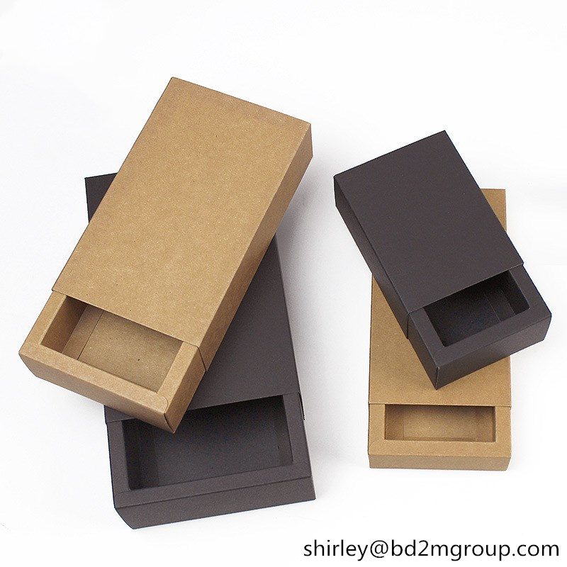 350g Wholesale Brown High quality Sliding Drawer Sock Packaging Paper Boxes