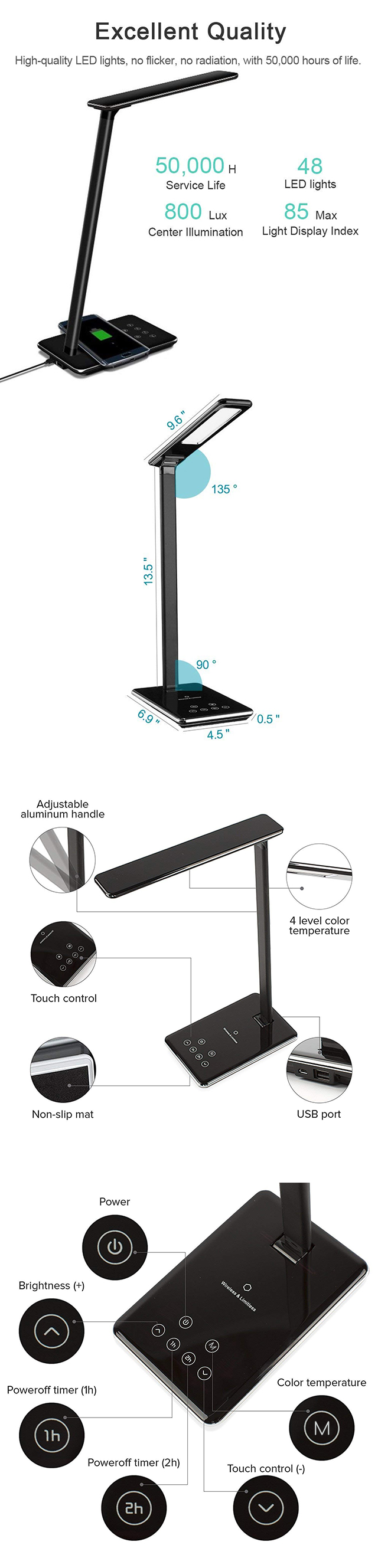 Amazon hot selling wireless charging lamp intertek led desk lamp with usb