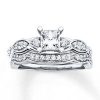 Emerald cut wedding ring set fashion women cz paved unique engagement ring for girls