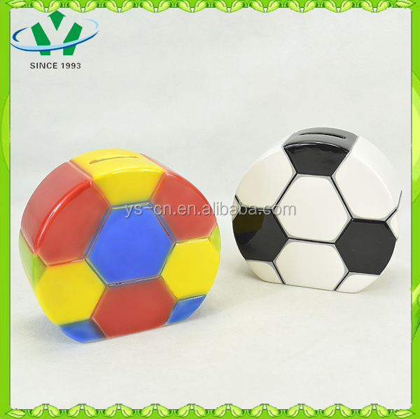 Football shape ceramic piggy banks for kids