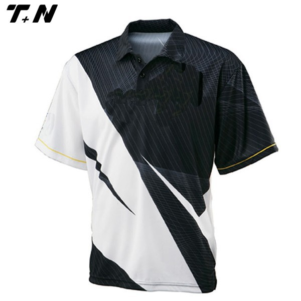 China factory sublimated polo shirt black and white