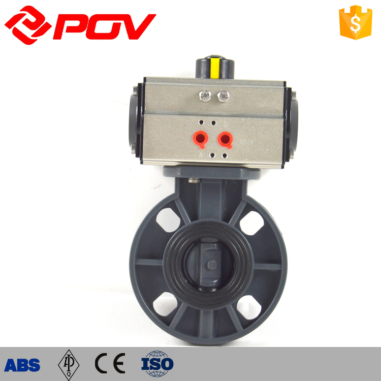 Light weight non-toxic UPVC pneumatic butterfly valve