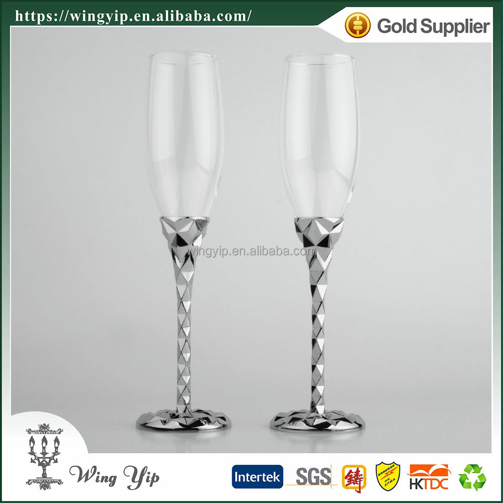 Wholesales Custom made Free sample Wedding gift with Stand Silver Goblet