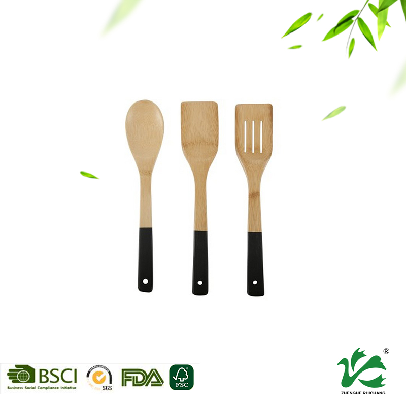 Colorful bamboo handle kitchen cooking painted utensil set