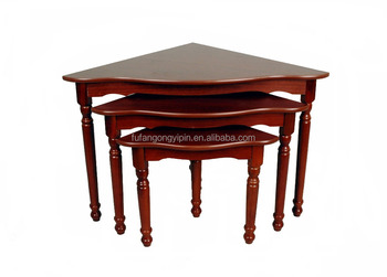 Red Wine Color Solid Wood Three Pcs Nesting Table