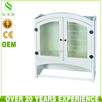 wholesale high quality bathroom wood wall mount cabinet with glass door