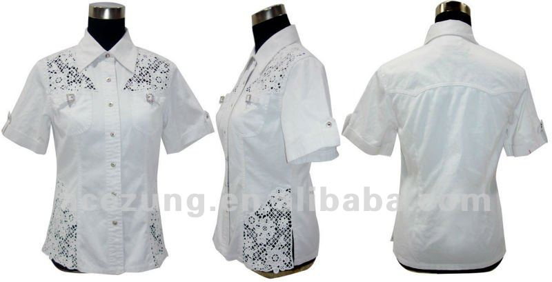 Fashion top quality lady's white elegant lace tops blouse with collar from china manufactory 2014