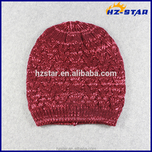 HZM-16286001 New popular winter ski cap red slouch variegated hat