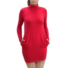 Ladies turtleneck long sleeve pockets pullover dress