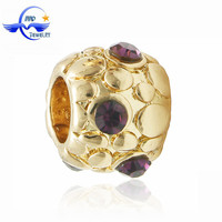Factory Wholesale Purple Crystal Fashion Gold European Large Hole Charms fits Charm Bracelet