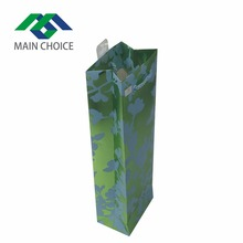 Hot Selling Cheap Glossy Lamination Disposable Green Paper Gift Bag for Wine