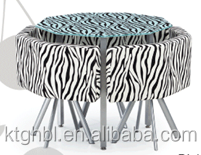 black with white stripe and zebra pattern tempered glass dining table with fabric dining chair