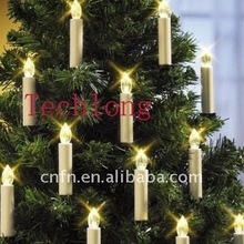 Remote Control LED Christmas Tree Taper Candles with Clip, Pack of 10