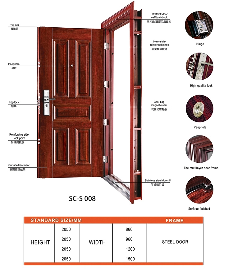 Modern europe design waterproof security steel door/metal doors