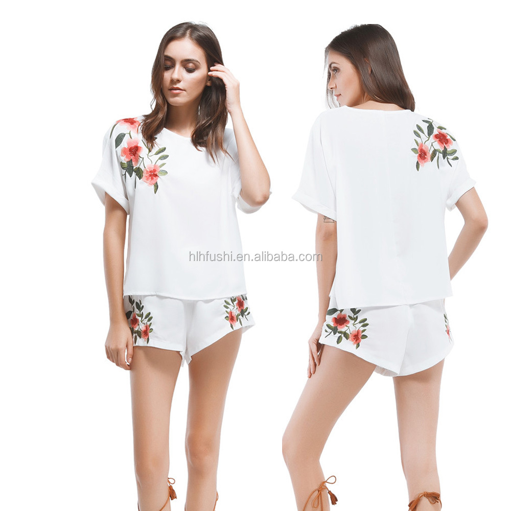 Fashion Women Ladies Chiffon <strong>T</strong> <strong>Shirts</strong> short Sleeve embroidery Floral Blouse Casual Tops