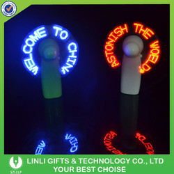 New Brand Self Programmable Mini LED Fan Glovion Custom Message Light Up Fan Programmable LED Message Handheld Fan