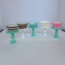 Mini Colorful Wood Cake Pedestal Wood Cake Stand