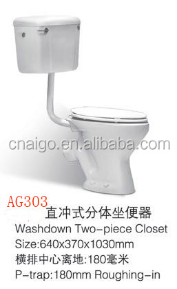 Cheap price ceramic wall hung tank african style two piece toilet in China