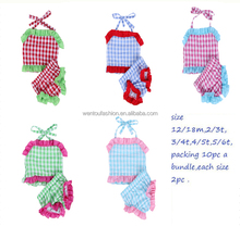 Wholesale Colorful Kids Baby Plaid Seersucker Swimsuit