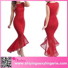 2016 Wholesale Red Tulle Fishtail Sleeveless Long Mermaid Evening Dress