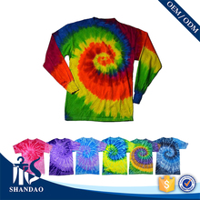 2017 Hot Sale Wholesale Factory OEM High Quality Custom 100% Cotton O-Neck Casual Tie Dye Long Sleeve T Shirt