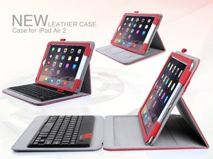 2016 New Selling Products With Touch Screen Stylus Pen Bluetooth Keyboard PU Leather Tablet Case For Apple iPad Air 2