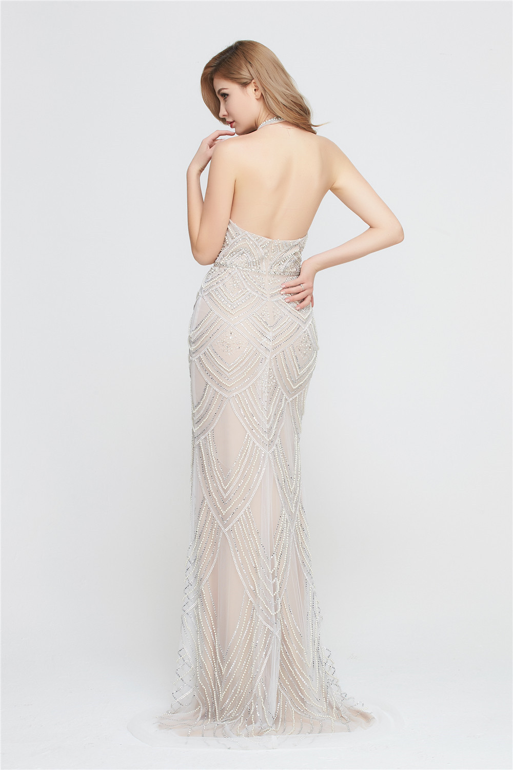 Sexy Ladies  Evening Gown Dresses Wholesale Western Style Backless halter neckline  Women Mermaid  beaded Long Prom Dress CE179
