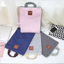 New fashion design office stationery waterproof nylon ipad bag with zipper Multi-function multi-layer a4 paper file