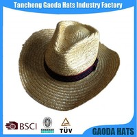 Natural Wheat Straw Cowboy Hats With Printing Logo On Band