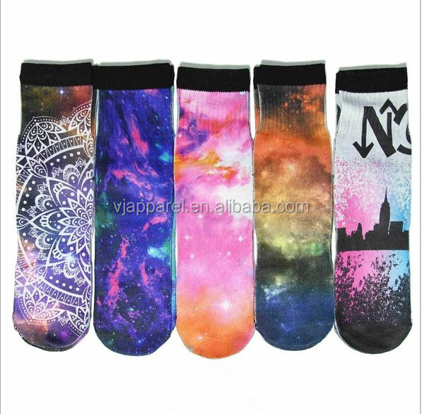 3d digital print sublimation long socks sublimated socks