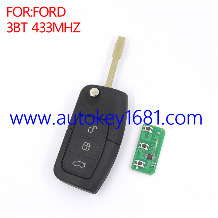 Car Key Alarm For Ford mendeo 3 Button Remote Control key 433 MHZ With 4D60 Chip