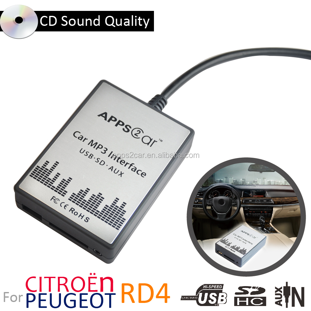 Apps2Car Car Audio Adapter USB SD Aux MP3 Interface for Peugeot 207 307 +Cc Citroen Rd4