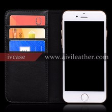 Genuine Leather Phone Case for Iphone 7 Case Book Flip Black Wallet Case