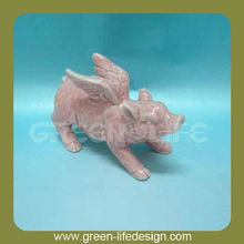 With wings ceramic pig decoration
