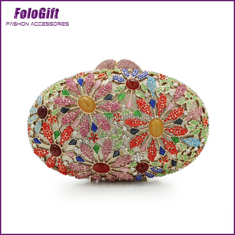 New fashion flower crystal rhinestone evening bag diamond clutches Guangzhou Factory