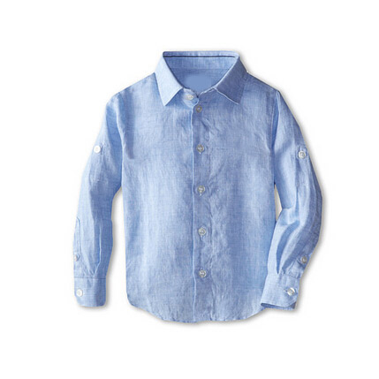 Blue Baby Boy solid pure linen shirts