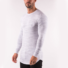 Fitness apparel men 95% cotton 5% elastane long sleeve t shirt from chinese clothing manufacturers
