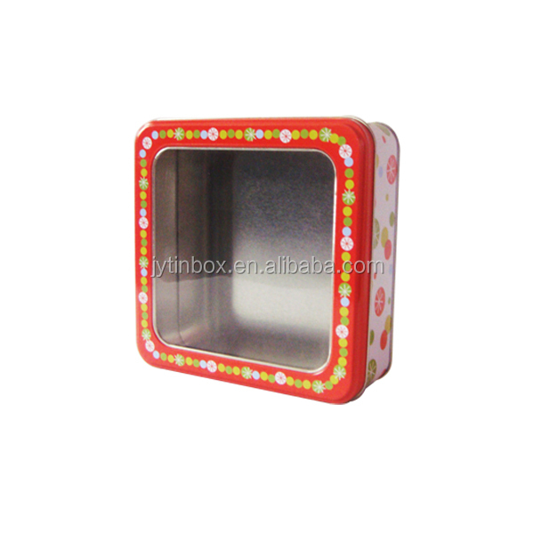 Custom design Christmas gift rectangular metal box soap tin box with window