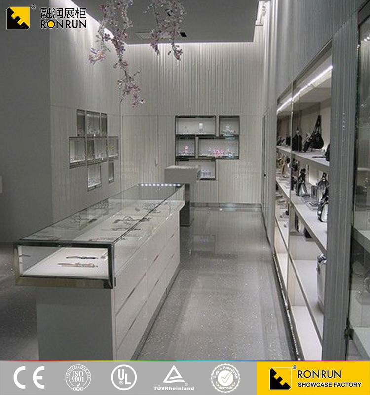RJM0520 Attractive silver jewelry glass display tower and wall recessed showcase design